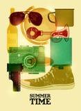 Lato czasu retro plakat Wektorowy projekt z rocznik rzeczami 10 eps Fotografia Royalty Free