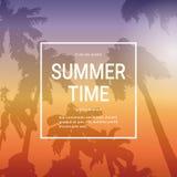 Lato czasu szablonu Plakatowy tło Z drzewkami palmowymi Nad zmierzchu krajobrazu lata wakacje sztandarem royalty ilustracja