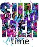 Lato czasu trójnika Koszulowy projekt Tropikalnych rośliien tekstura Lato czasu tekst ilustracja wektor
