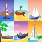 Lato czasu wakacje natury tropikalna plaża z żagiel łodzi statkami, naczynie, jachtu raju wyspy palmy krajobrazowi wakacje royalty ilustracja