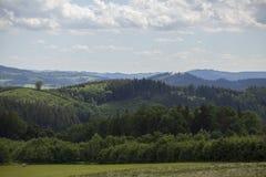 Lato czeski krajobraz na wzgórzach Obraz Stock