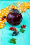 Lato deaktywaci napój - kompot jagody czerni, czerwony rodzynek w dzbanku na jaskrawym tle Zdjęcia Stock