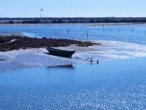 Lato del fiume di attesa della barca del parco naturale fotografie stock