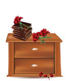 Lato del letto con i libri e le rose Fotografia Stock
