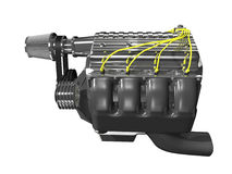 lato del motore di 3d turbo Fotografia Stock