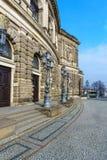 Lato del teatro dell'opera di Dresda Semper immagine stock