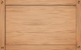 Lato della cassa di legno, della scatola o del telaio marrone con le viti illustrazione vettoriale