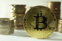 Lato della fronda del segno del metallo del bitcoin con altre pile differenti della moneta Fotografie Stock Libere da Diritti