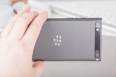 Lato della macchina fotografica di salto di Blackberry Fotografie Stock Libere da Diritti