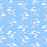 Lato denny bezszwowy wzór Ilustracja ptasi seagull, niebo a royalty ilustracja