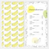 Lato deserowy menu z bananami na pokrywie Obrazy Royalty Free