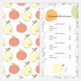 Lato deserowy menu z jabłkami i bonkretami na pokrywie Fotografia Stock