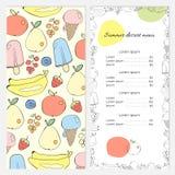 Lato deserowy menu z owoc i lody Fotografia Royalty Free