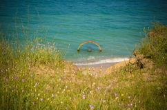 Lato di Mar Nero di vista della spiaggia di estate Fotografia Stock