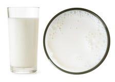 Lato di vetro di latte e vista superiore fotografie stock libere da diritti