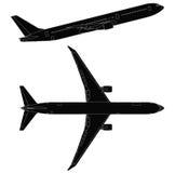 Lato di vettore dell'aeroplano del passeggero e vista superiore Fotografia Stock