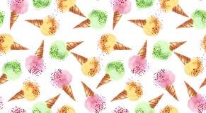 Lato dobierająca lodowa deserowa kolor akwarela Obraz Stock