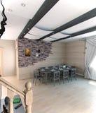 Lato domu jadalnia, 3d rendering Obraz Stock