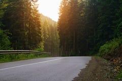 Lato droga Bukovel w Karpackich górach Ukraina zdjęcie stock