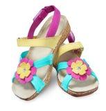 Lato dzieciaka butów sandałów kobieta odizolowywająca na bielu Obraz Stock