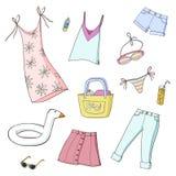 Lato dziewczyn odziewa? kresk?wki ilustracj myszy ustawiaj? wektor zdjęcie royalty free