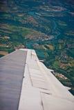 Lato e fiume francesi girantesi piani del paese Fotografia Stock Libera da Diritti