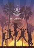Lato Egzotyczny sztandar z drzewkami palmowymi dla plaży przyjęcia Obraz Royalty Free