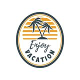 Lato emblemat z palmami Projektuje element dla loga, przylepia etykietkę, podpisuje, t koszula również zwrócić corel ilustracji w fotografia stock