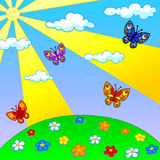 Lato gazon z motylami i kwiatami ilustracja wektor