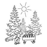 Lato grilla podwórka przyjęcia doodle set Obraz Stock