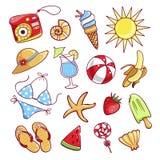 Lato ikony śliczny set ilustracja wektor