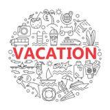 Lato ikony i Plażowe ikony Obrazy Stock