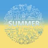 Lato ikony i Plażowe ikony Zdjęcie Stock