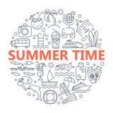 Lato ikony i Plażowe ikony Obraz Stock