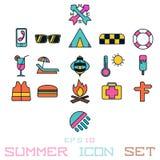 Lato ikony słońca wakacje arbuz ilustracja wektor