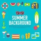 Lato ikony tła płaski ilustracyjny projekt Obrazy Royalty Free