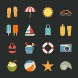 Lato ikony, Urlopowe ikony z czarnym tłem Fotografia Royalty Free