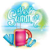 Lato ilustracja z walizką, łopotami, żebrami i życie pierścionkiem, Być na wakacjach i odpoczywa Stubarwnego pięknego rysunek z l ilustracji