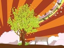 Lato ilustracja z zielonym drzewem ilustracja wektor