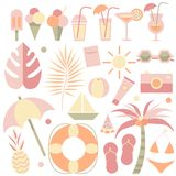 Lato ilustracje Ustawiać Cześć lato Lato elementy Set tropikalny, plażowy, lody, koktajl, podróż, owoc elementy ilustracji