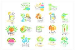 Lato jarski menu ustawiający dla loga projekta Kolekcja kolorowe ilustracje royalty ilustracja