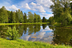 Lato jeziora krajobraz w parku Obraz Stock