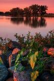 Lato jeziora wschód słońca zdjęcia stock
