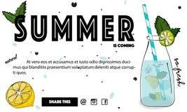 Lato koktajlu sztandar Tropikalny nowy świeży napój Zimna soczysta woda w szkle z cytryną i lodem Świeżość trunek royalty ilustracja