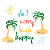 Lato koloru typografii druk z wyspą, drzewkiem palmowym, dennymi zwierzętami i motywacyjną wycena, Fotografia Royalty Free