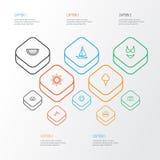 Lato konturu ikony Ustawiać Kolekcja koncha, torebka, Melonowi elementy Także Zawiera symbole Tak jak lód, Shell royalty ilustracja