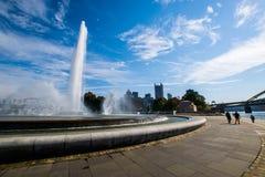 Lato krajobraz punktu stanu parka fontanna w Pittsburgh Obrazy Stock