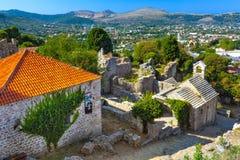 Lato krajobraz w Fortecznym Starym Prętowym miasteczku, Montenegro zdjęcie royalty free
