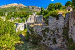 Lato krajobraz w Fortecznym Starym Prętowym miasteczku, Montenegro zdjęcia royalty free