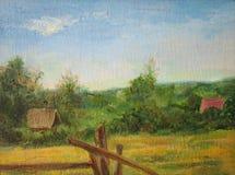 Lato krajobraz z drzewami i krzakami obraz stock